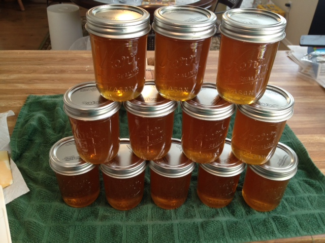 Honey in mason jars