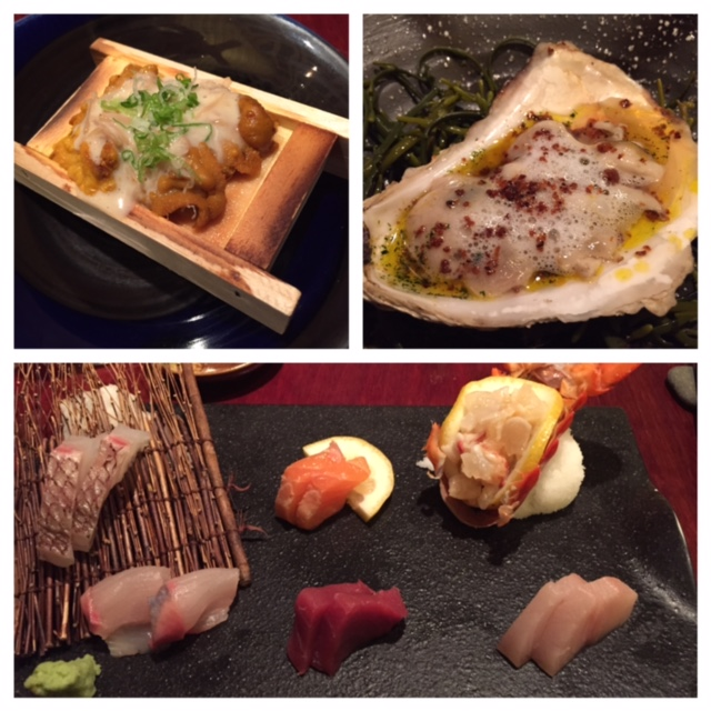 Uni, oyster with foam, and sashimi plate from Miyake