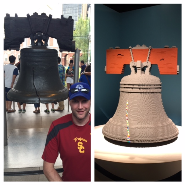 The real Liberty Bell vs. the Lego one.