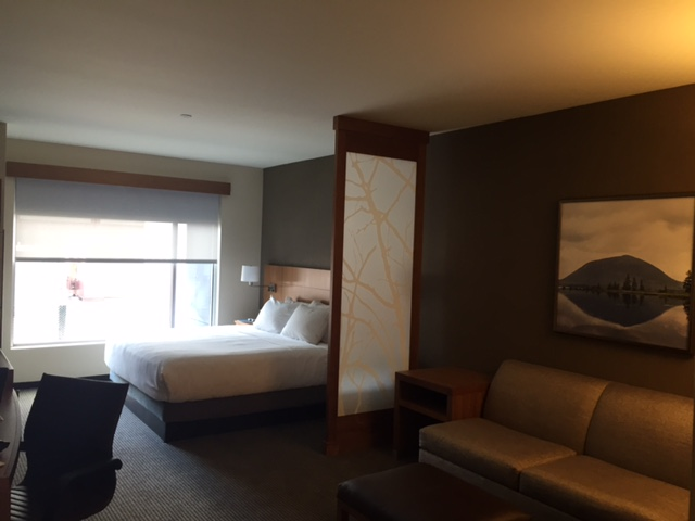 A standard King room in the Hyatt Place Old Port.