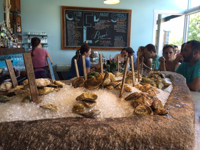 The oyster bar at Eventide Oyster Company.