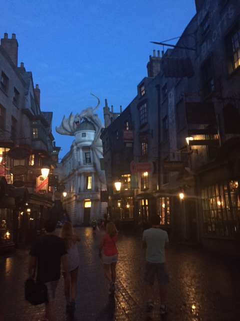 A pre-dawn look at Diagon Alley at the Wizarding World of Harry Potter