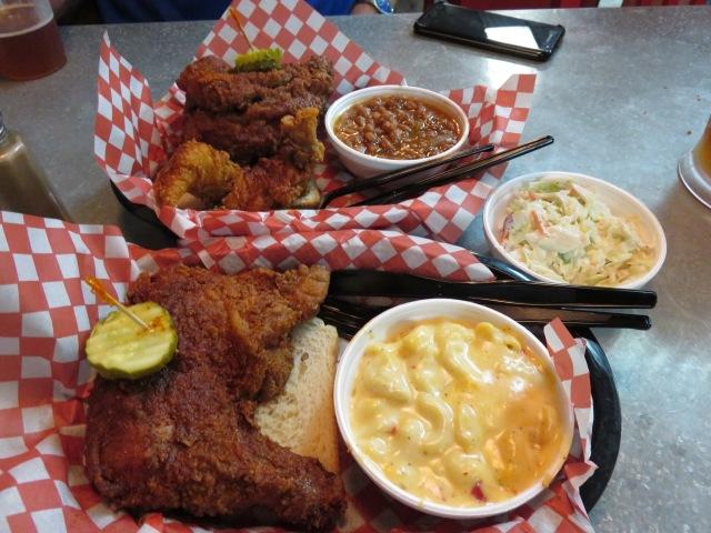 Chicken and sides at Hattie B's in Nashville