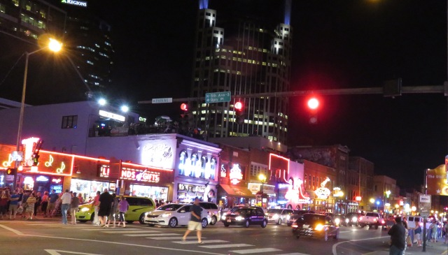 The neon lights of Lower Broadway in Nashville.