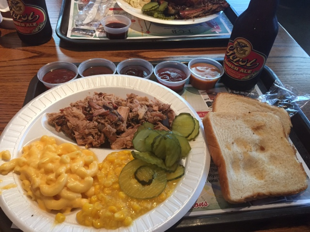 A plate of BBQ from Jack's BBQ in Nashville.